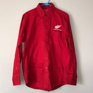 Antigua Men's Red Wings Dress Shirt Button Style